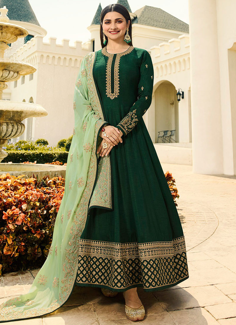 acd2939946 Buy Prachi Desai Dark Green Embroidered Anarkali Suit ...