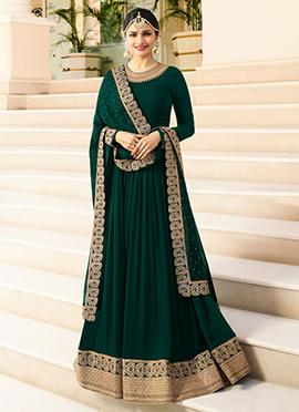 Prachi Desai Dark Green Embroidered Anarkali suit