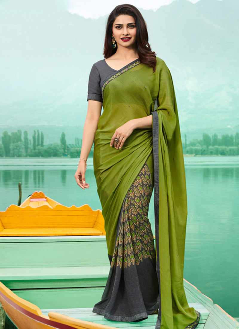 4f4c01b548ac48 Buy Prachi Desai Dark Grey N Green Printed Half N Half Saree ...