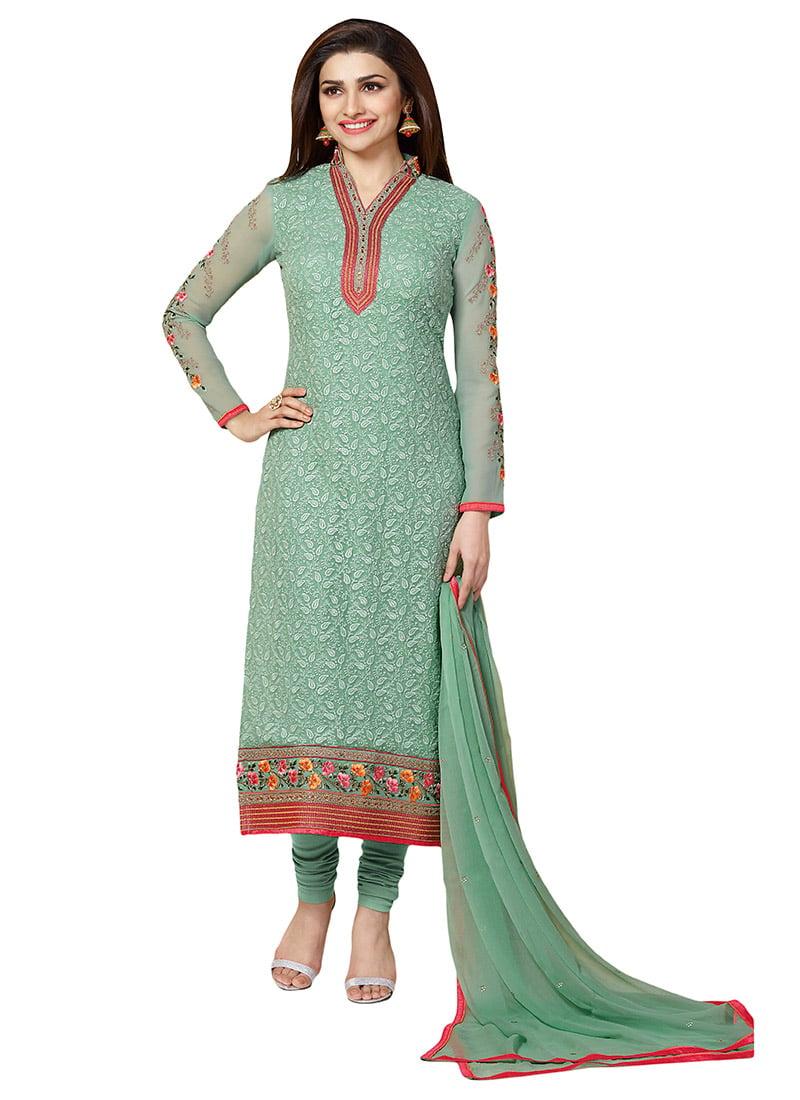 Buy Prachi Desai Dark Moss Green Straight Suit, Embroidered ...