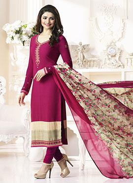 Prachi Desai Dark Pink Crepe Pakistani Stright Suit