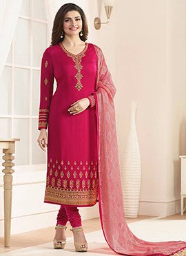 Prachi Desai Dark Pink Georgette Straight Suit