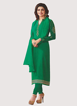 Prachi Desai Green Crepe Straight Suit