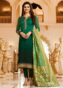 Prachi Desai Green Embroidered Straight Suit