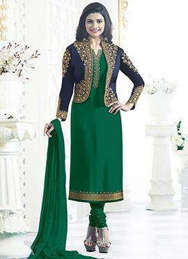 Prachi Desai Green Jacket Style Churidar Suit