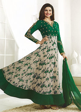 Prachi Desai Green N Beige Georgette Abaya Style Anarkali suit
