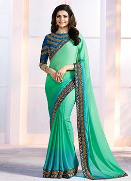 Prachi Desai Green N Blue Border Saree