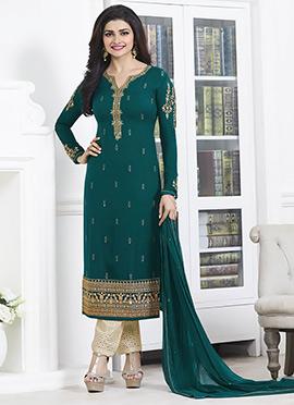 Prachi Desai Green Straight Pant Suit