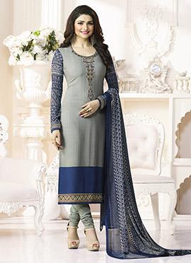 Prachi Desai Grey Crepe Pakistani Stright Suit