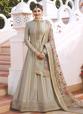 Prachi Desai Grey Embroidered Anarkali suit