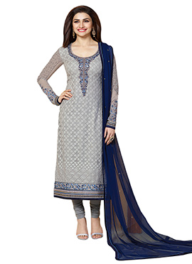 Prachi Desai Grey Georgette Straight Suit