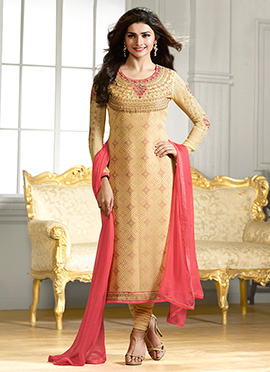 Prachi Desai Light Beige Churidar Suit