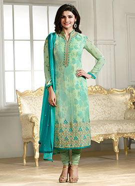 Prachi Desai Light Green Churidar Suit