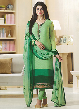 Prachi Desai Light Green Crepe Straight Suit