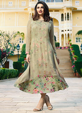 Prachi Desai Light Green Printed Layered Kurti