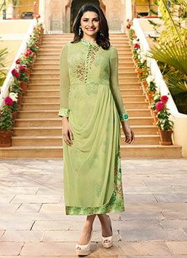 Prachi Desai Light Green Printed Layered Kurti