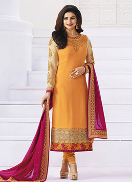Prachi Desai Light Orange Georgette Straight Suit