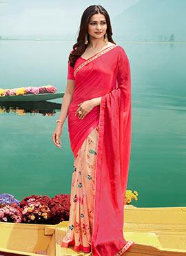 2d742533dcb Prachi Desai Light Peach N Fuchsia Pink Printed Half N Half Saree