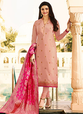 Prachi Desai Light Pink Embroidered Straight Suit