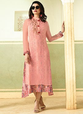Prachi Desai Light Pink Printed Layered Kurti
