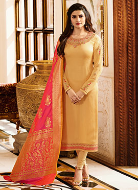 Prachi Desai Light Yellow Embroidered Straight Suit