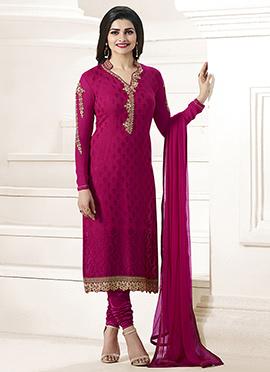Prachi Desai Magenta Georgette Straight Suit
