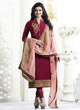 Prachi Desai Maroon Georgette Straight Suit
