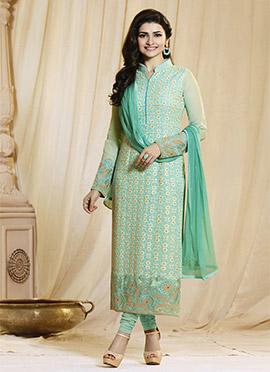 Prachi Desai Mint Green Georgette Straight Suit