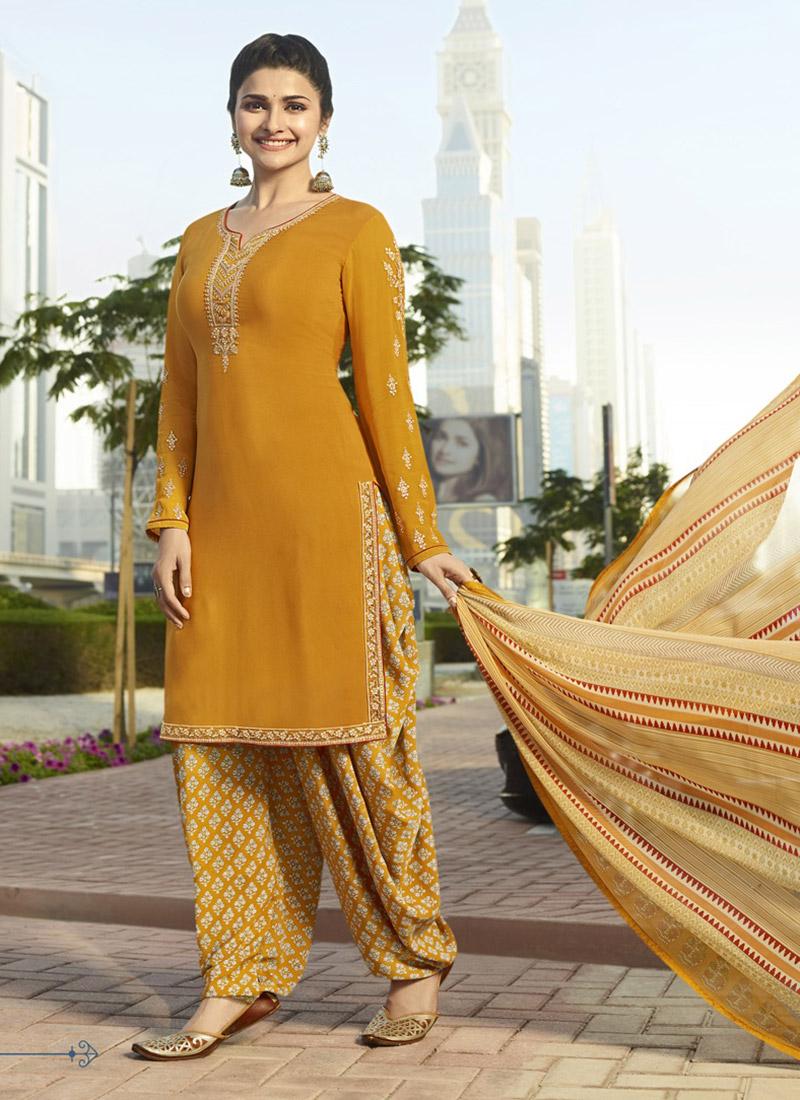 7dbb16b4b60 Buy Prachi Desai Mustard Yellow Salwar Suit