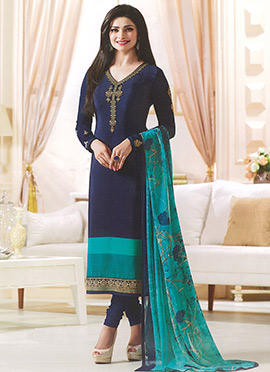 Prachi Desai Navy Blue Crepe Straight Suit