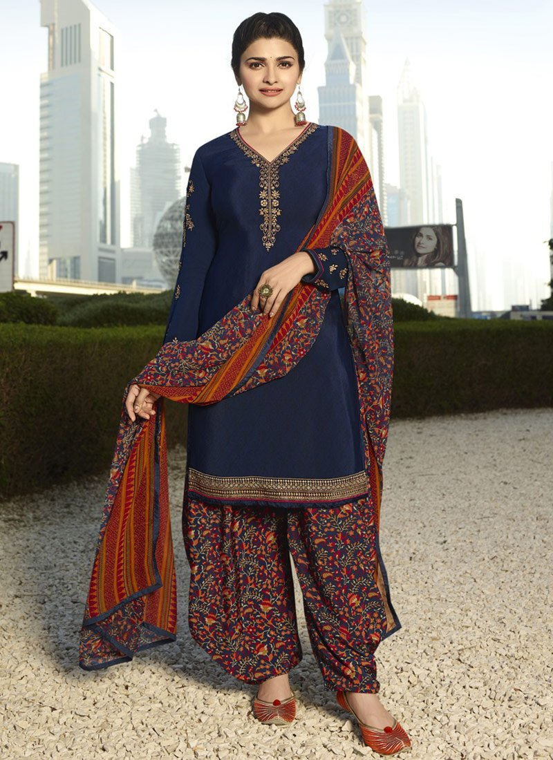 e9f8c5d7316 Buy Prachi Desai Navy Blue Embroidered Salwar Suit