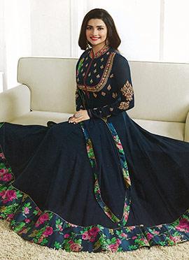 Prachi Desai Navy Blue Georgette Abaya Style Anark