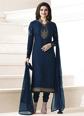 Prachi Desai Navy Blue Georgette Straight Suit