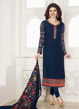 Prachi Desai Navy Blue Straight Suit