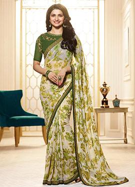 Prachi Desai Off White N Green Georgette Saree