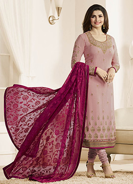 Prachi Desai Onion Pink Georgette Straight Suit