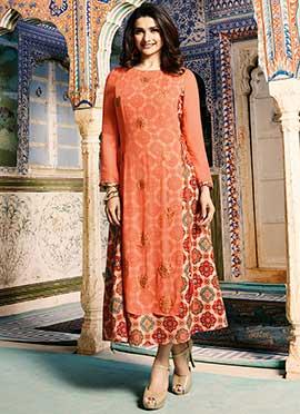 Prachi Desai Orange N Beige Printed Layered Kurti
