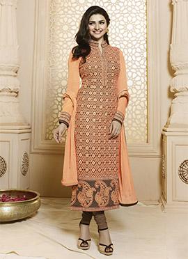 Prachi Desai Orange N Brown Straight Suit