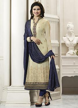 Prachi Desai Beige N Blue Straight Suit
