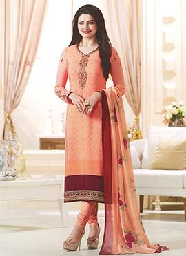 Prachi Desai Peach Crepe Straight Suit