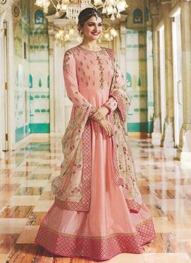 Prachi Desai Peach Embroidered Anarkali suit