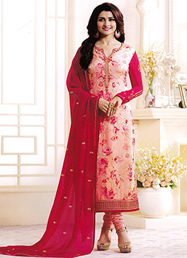 Prachi Desai Peach N Pink Georgette Churidar Suit