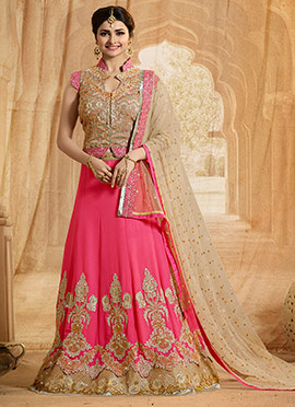 Prachi Desai Pink A Line Lehenga