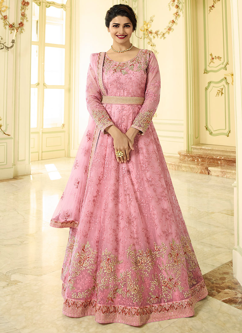 d649a69ac4 Buy Prachi Desai Pink Abaya Style Anarkali Suit, Embroidered ...