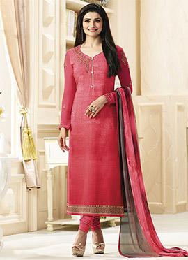 Prachi Desai Pink Crepe Straight Suit