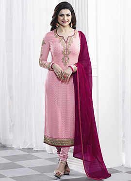 Prachi Desai Pink Georgette Straight Suit