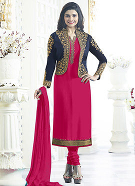 Prachi Desai Pink Jacket Style Churidar Suit