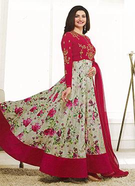 Prachi Desai Red N cream Georgette Abaya Style Ana