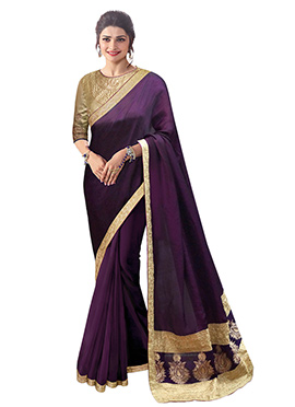 Prachi Desai Purple Art Silk Saree