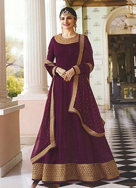 Prachi Desai Purple Embroidered Anarkali suit